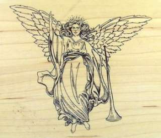 Gorgeous ANGEL WITH HORN Christmas Holiday Rubber Stamp / INKADINKADO