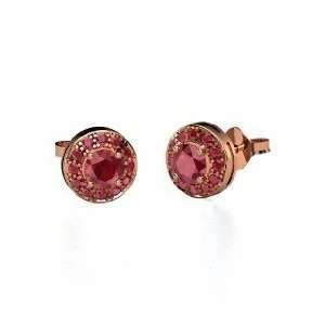 Halo Earrings, Round Ruby 14K Rose Gold Stud Earrings Jewelry