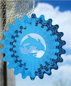GARDEN DECOR HANGING BLUE DOLPHIN METAL WIND SPINNER NEW