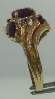 18k yellow gold oval amethyst .09ct diamond VS1 G ring vintage 7.6g