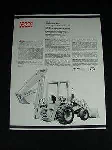Case 580B Construction King Tractor/Loader/Backhoe Specs Brochure 1971