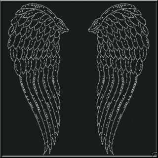 Rhinestones Cherub Angel Wings T Shirt 4X,4XL,5X,5XL
