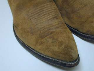 Tony Lama Tan Suede Rough Out Western Cowboy Boots Mens 11 6987