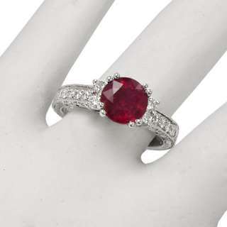 75ct Ruby 18k White Gold .40ct Diamond Ring R1296 Free Worldwide