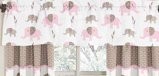 UNIQUE DISCOUNT PINK AND BROWN MOD ELEPHANT DESIGNER GIRL BABY BEDDING