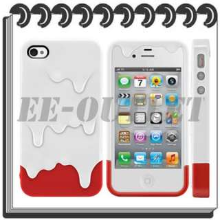 New White Red 3D Melt ice Cream Hard Case Skin Protect Cover for