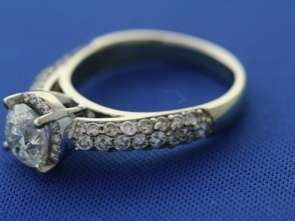 14k White Gold 3.45ct Round Diamond Halo Cathedral Ring