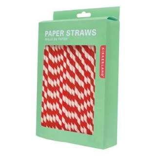 Box 144 Red White Retro Kitsch Stripe Paper Straws New