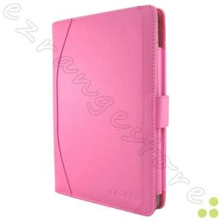 Pink Leather Case Cover +2x Screen Protectors +Stylus for Nook Tablet