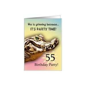 55 Party Invitiation. A big alligator smile for you Card: Toys & Games