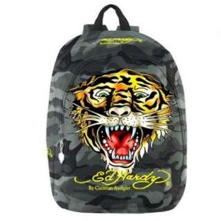 Ed Hardy Misha Tiger Backpack   Green Camo