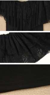 9091 Womens Off shoulder One shoulder Lace ruffle collar mini club
