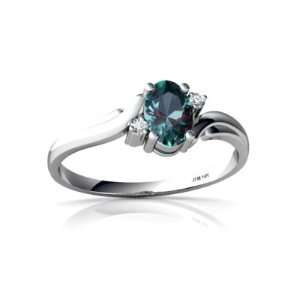 14K White Gold Oval Created Alexandrite Ring Size 7 Jewelry