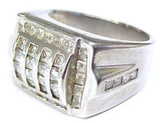 Crystal Accented Sterling Silver Mens Pinky Ring; Size 8