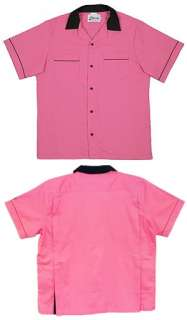 Youth CLASSIC 50S PINK/Black retro shirt Back Pleats