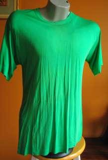 Vtg 80s GREEN 100% SILK SLINKY MENS T shirt LARGE