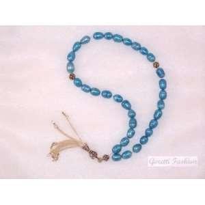 8 10mm Sky Blue Pearls Islamic Prayer Worry Beads Tesbih