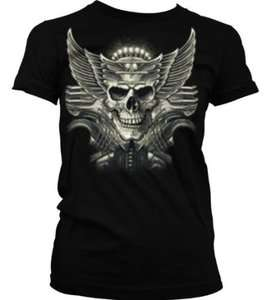Winged Chopper Skull Junior Girls T shirt Flaming Motorcycle Design