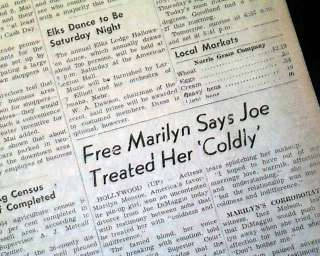 MARILYN MONROE Joe DiMaggio Divorce 1954 Old Newspaper
