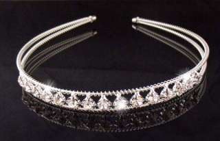 Wedding Bridal crystal veil tiara crown headband Y1040