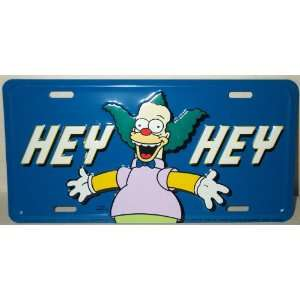 Simpsons Family License Plate Tag   Metal Krusty the Clown   HEY HEY