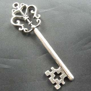 60pcs tibetan silver key Charms 68x18mm