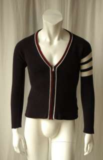 THOM BROWNE Mens Navy *CASHMERE Knit* Zippered Striped Cardigan