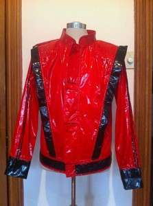 VINTAGE MICHAEL JACKSON VINYL SHINY THRILLER JACKET MENS MEDIUM
