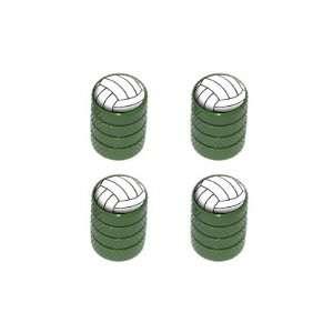 Volleyball   Sport Tire Rim Valve Stem Caps   Green