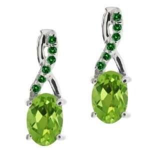 1.07 Ct Oval Green Peridot and Green Diamond 18k White