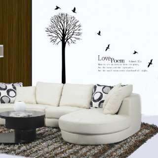 Love Poem Tree Bird Decor Mural Art Wall Sticker Decal Y337 (various