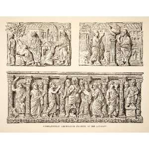 Ancient Roman Archeology Art   Relief Line block Print Home & Kitchen