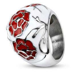 Stainless Steel Red Rose Flower against White Enamel Dome Ring Size 6