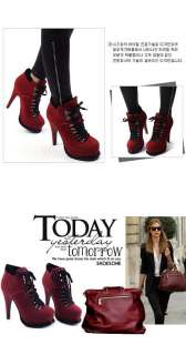 Fashion Womens Cool Red Strappy high heel Shoes Ankle Boots US 4 8
