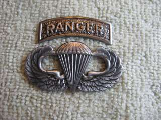 Airborne Ranger Jump Wings & Tab Badges 75th Parachute Pin US Army