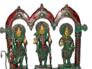 Ram Darbar with Hanuman Hindu God Ram Laxman Sita Brass Statue 10
