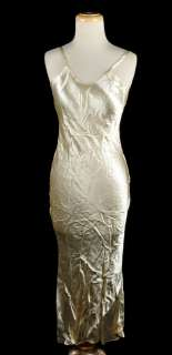 Vintage 1930s Ivory Lace Bias Cut Wedding Dress w/ Satin Slip Size XS