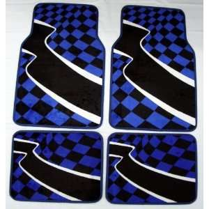 Racing Checkered Flag Blue Front & Rear Carpet Car Truck SUV