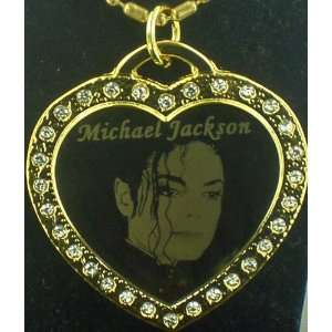 Michael Jackson RIP CZ Gold HEART Dog tag Necklace