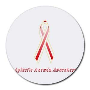 Aplastic Anemia Awareness Ribbon Round Mouse Pad: Office