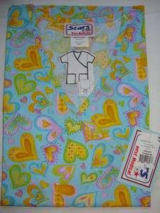 518, BRAND New Nurses Uniform Scrub Mock wrap Printed Tops XS 3XL