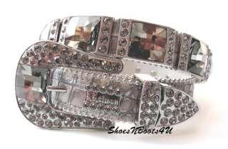 simon SWAROVSKI BLACK DIAMOND CRYSTAL WESTERN BUCKLE BELT M 32 BB