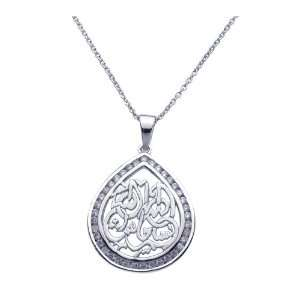 Silver Necklaces Teardrop Arabic Writing With Cz Necklace Jewelry