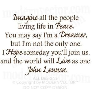 John Lennon IMAGINE Vinyl Wall Quote Decal Lettering