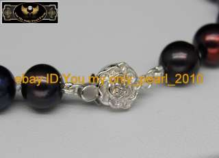 MP Cultured 9 10mm AAA black pearl bracelets 925s