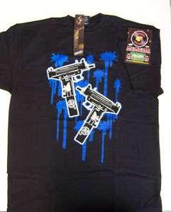 Double Uzi Gunshot Black Shirt XL Blue Screen Printed