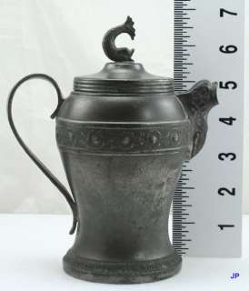 1850 CONT OPEAN PEWTER FISH CREAMER/MILK PITCHER