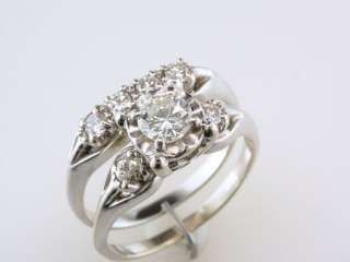 Antique Deco Genuine 0.85ct Diamond 14K White Gold Engagement Wedding