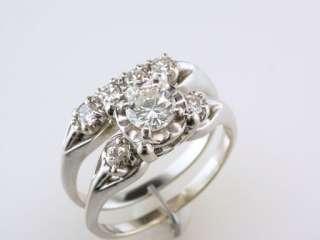 Antique Deco Genuine 0.85ct Diamond 14K White Gold Engagement Wedding