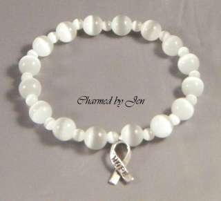 New LUNG CANCER Awareness Cats Eye Stretch Bracelet w/ HOPE Ribbon